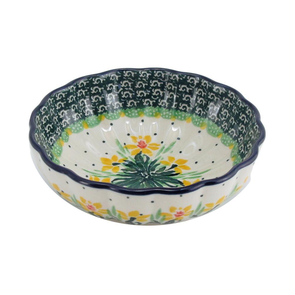 Polish Pottery 4.5'' Handmade Fluted Dessert Dish 023-Daffodils by Polish Pottery Boleslawiec