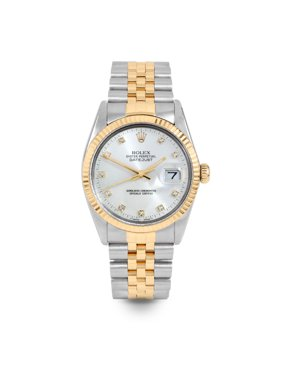 Pre Owned Rolex Datejust 16013 w/ Silver Diamond Dial 36mm Men's Watch (Certified Authentic & Warranty Included)