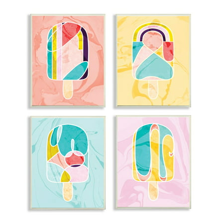 Mod 80's Pastel Abstract Popsicles with Marble Spatter 4pc Wall Plaque Art Set, 10 x