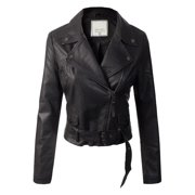 Made by Olivia Women's Fashion Motorcycle Belted Faux Leather Jacket