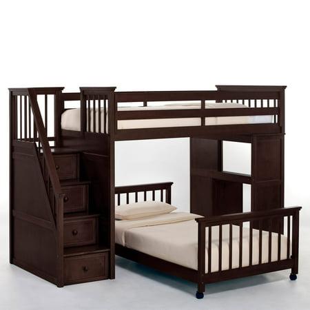 Hillsdale School Twin Stair Loft Desk End Twin Lower Bed Chocolate