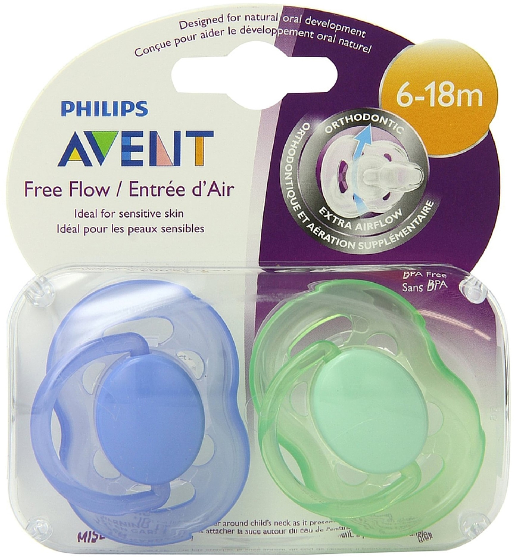 Philips Avent BPA Free Freeflow Pacifier, 6-18 Months 2 ea (Pack of 2)
