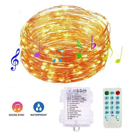 Dancing Flower Sound Activated (Peroptimist 100 LEDs String Fairy Lights, Low Voltage String Lights Dancing with Music, 12 Lighting Modes, Sound Activated, for Bedroom Garden Home Outdoor)