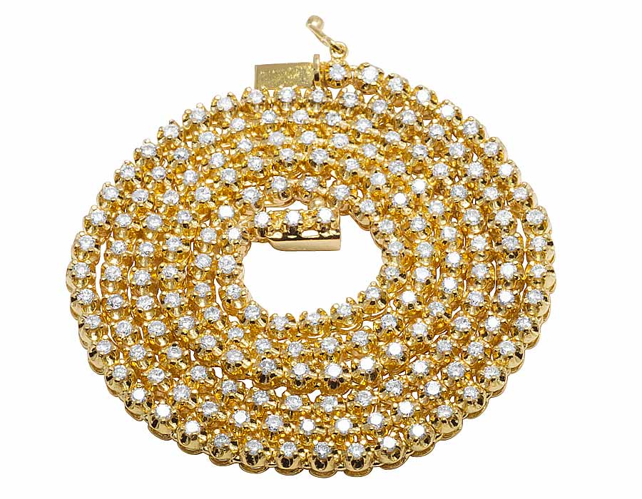 10K Yellow Gold Men's One Row Real Diamond Prong Chain Necklace 6CT 4MM by Jewelry Unlimited