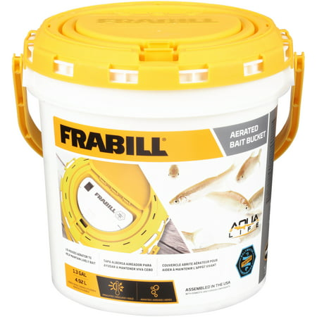 Frabill Fishing Aqua Life Aerated Live Bait Bucket, 1.3 (Double Live Bait Hook)