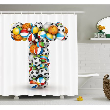 Letter T Shower Curtain Uppercase With Big And Small Balls Children Motivation For Sports