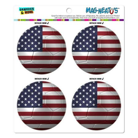 The United States Flag Soccer Ball Futbol Football MAG-NEATO'S(TM) Car/Refrigerator Magnet Set