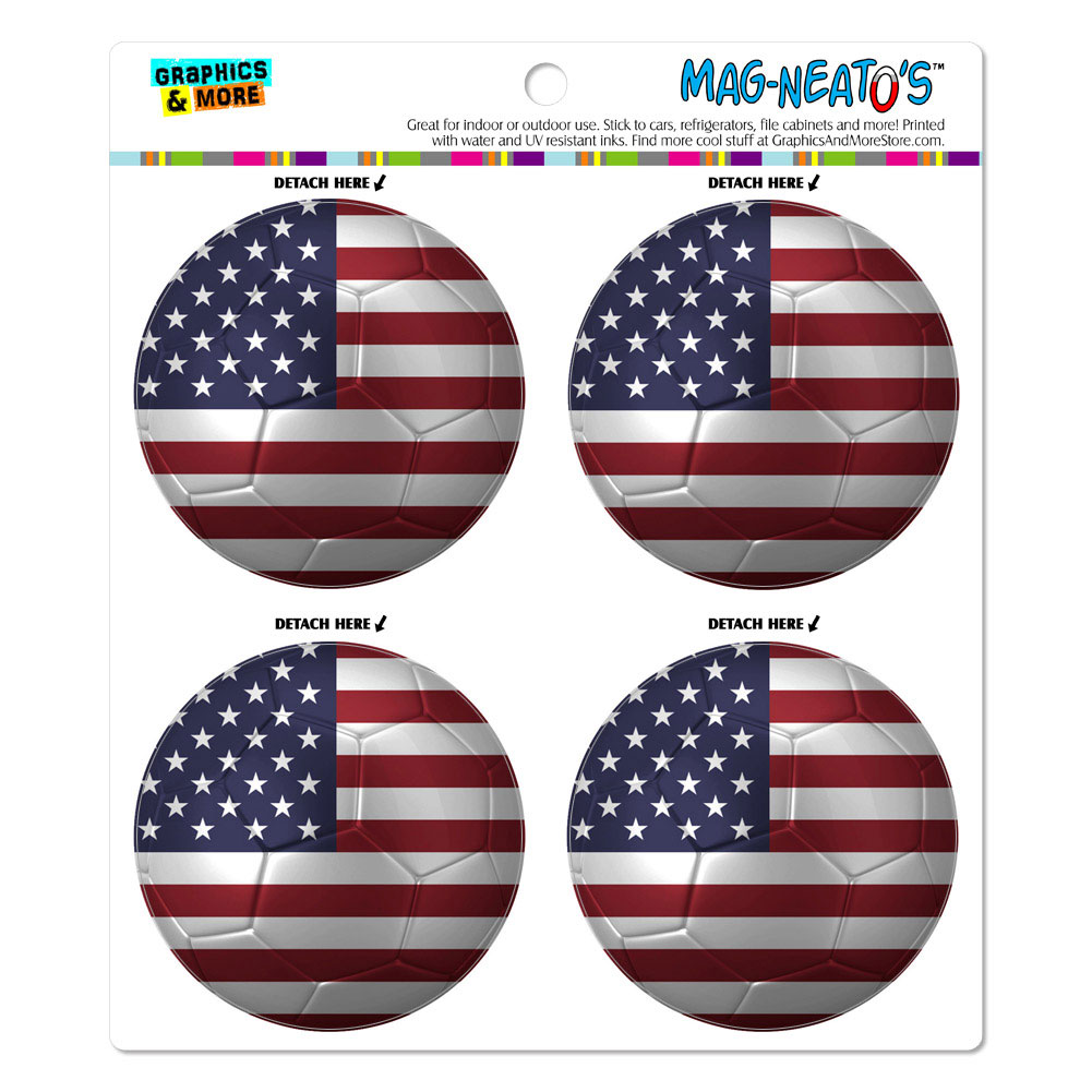 The United States Flag Soccer Ball Futbol Football MAG-NEATO'S(TM) Car/Refrigerator Magnet Set