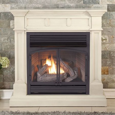 Duluth Forge Dual Fuel Ventless Fireplace - 32,000 BTU, T-Stat Control, Antique White