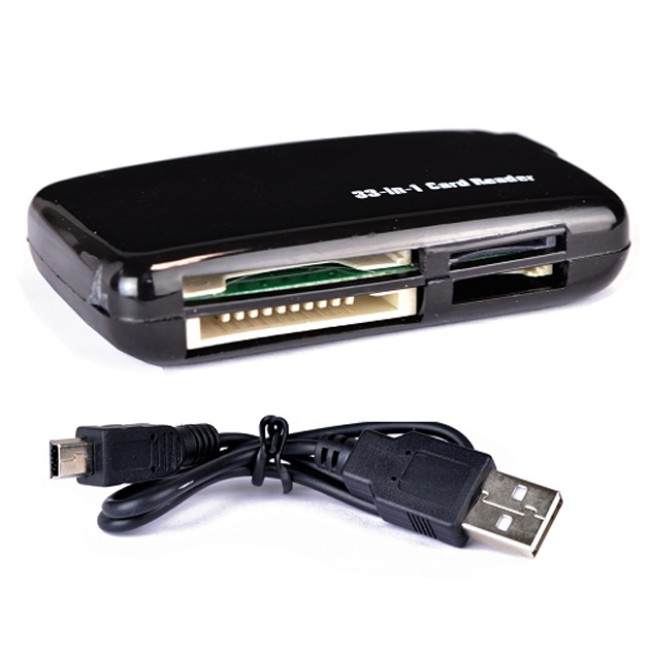 33-in-1 USB 2.0 Card Reader (Black) [Extremely Compact, Can Be Placed in Your Laptop Bag Easily]