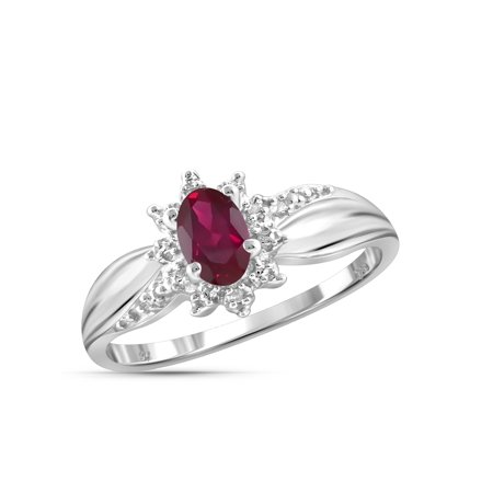 0.48 Carat T.G.W. Ruby Gemstone and Accent White Diamond Women's Ring (Gemstone Ruby Ring)