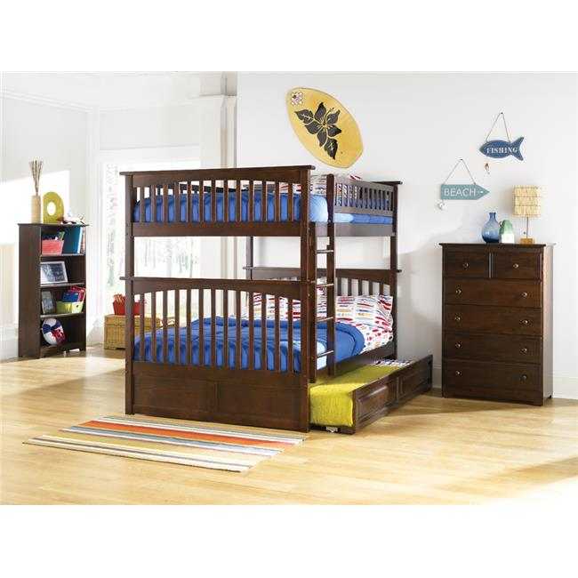 Columbia Bunkbed with Urban Bed Drawers - Antique Walnut, Full Over Full Size