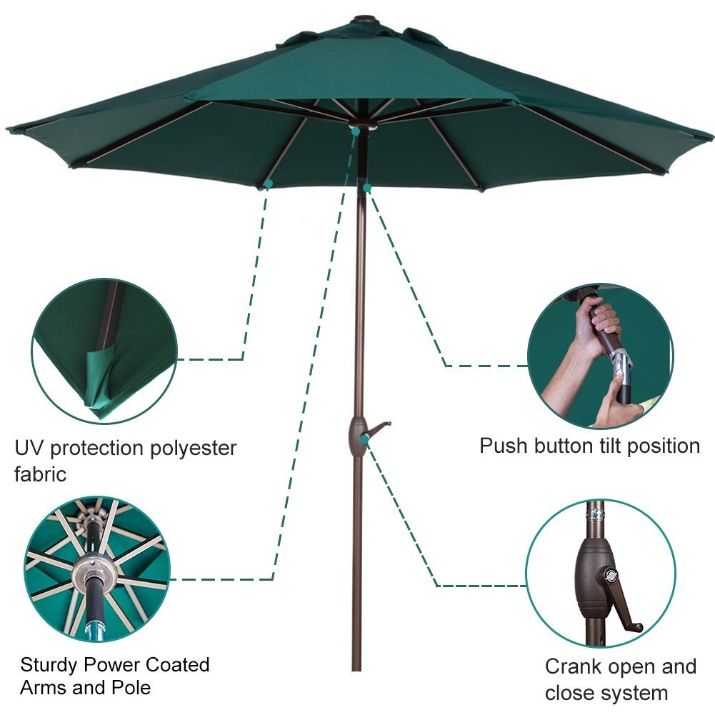 Abba Patio 11' Market Push Button Tilt and Crank Patio Umbrella, Multiple Colors