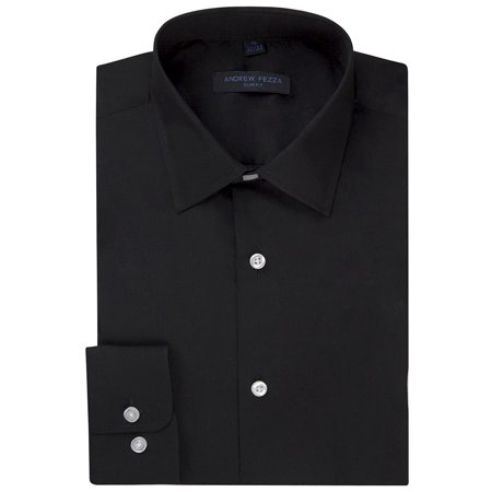 Cotton Jersey Dress Shirt (Andrew Fezza Men's Slim Fit Long Sleeve Solid Cotton Dress Shirt - Black - 15 2-3)