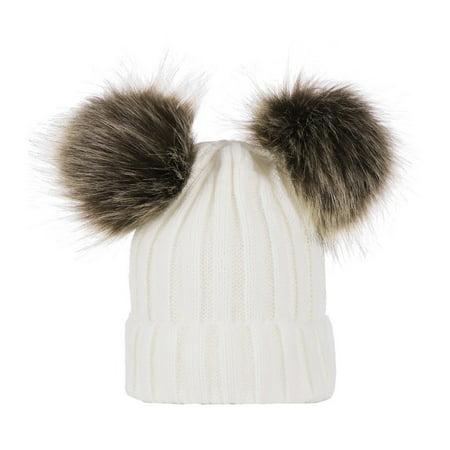 b37652531 Winter Warm Women Knitted Crochet Wool Hat Double Hair Ball Earmuffs Caps  Infant Toddler Kid Cute Hairball Beanie Cap