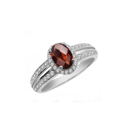 Oval Faceted Garnet Ring - 1.40 Ct Oval Checkerboard Red Garnet 925 Sterling Silver Ring