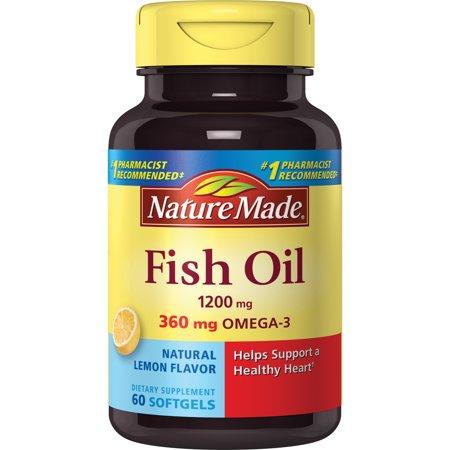 Nature made fish oil dietary supplement lemon flavor for Lemon fish oil