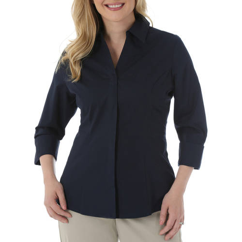 Riders by Lee Women's Classic 3/4 Sleeve Wrinkle Resistant Career Shirt