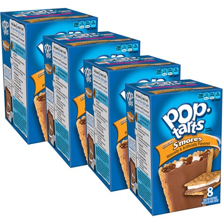 - (4 Pack) Kellogg's Pop-Tarts Breakfast Toaster Pastries, Frosted S'mores Flavored, 14.7 oz 8 Ct