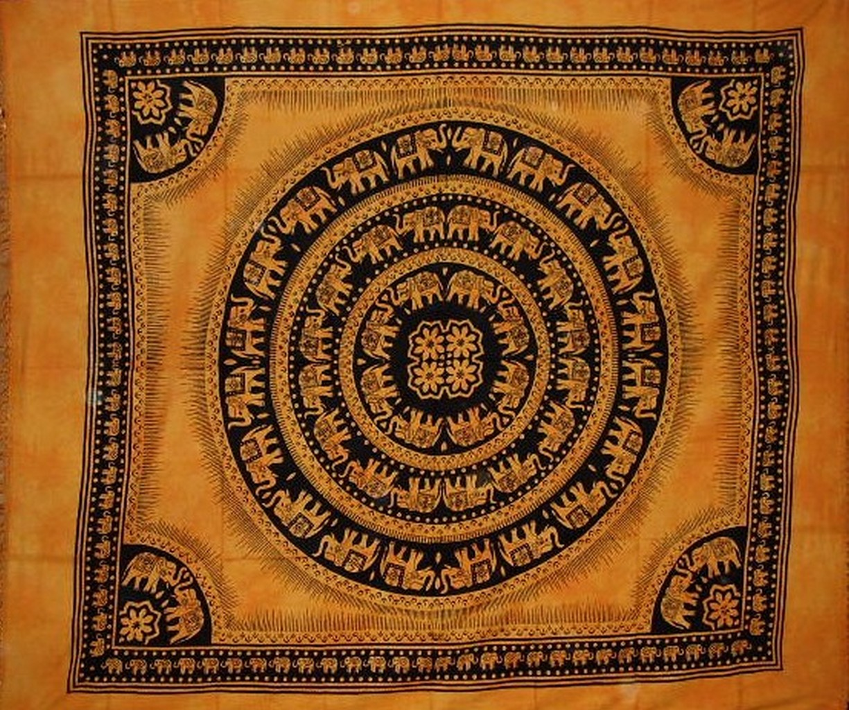 "Mandala Elephant Tapestry Cotton Bedspread 92"" x 82"" Full Saffron by India Arts"