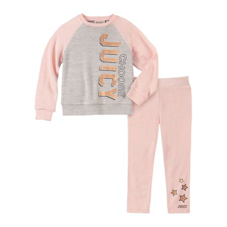 Little Girl's 2-Piece Brushed Knit Sweatshirt & Sweatpants Set (Girls Nike Sweatpants)
