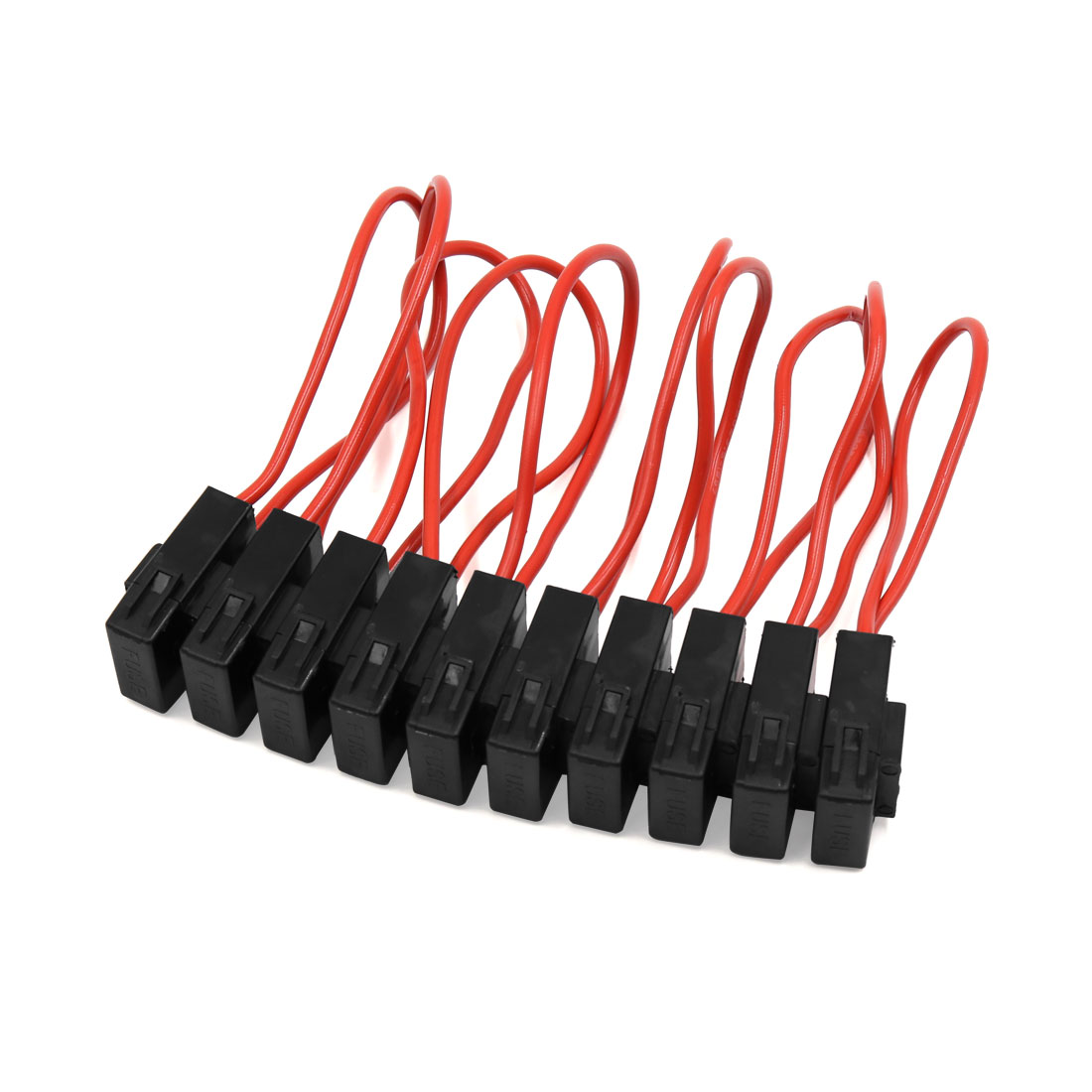 10pcs Red Wire Black Plastic Shell Cap Wiring Inline  Fuse Holder 15A