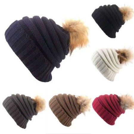 Women Winter Warm Cashmere Wool Knitted Real Fur Pom Ball Beanie (Beige Cashmere Blend)