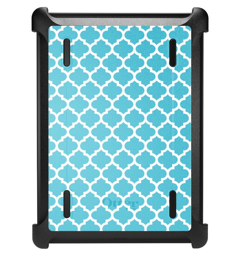 CUSTOM Black OtterBox Defender Series Case for Apple iPad Air 1 (2013 Model) - Light Blue White Moroccan Lattice