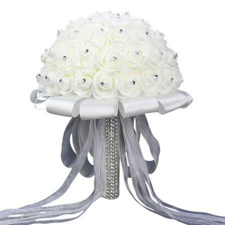 Wedding Bouquet, Outgeek Crystal Artificial Rose Flowers Bridesmaid Bridal Bouquet for Arrangements Wedding Party Church Decor Supplies
