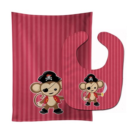 - Pirate Monkey Red Baby Bib & Burp Cloth