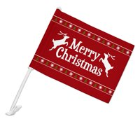 Merry Christmas Holiday Reindeer Car Truck Flag with Window Clip On Pole Holder - Left Driver Side