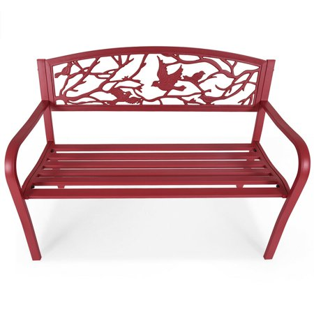 Costway Patio Garden Bench Park Yard Outdoor Furniture Cast Iron Porch Chair Red - image 7 de 8