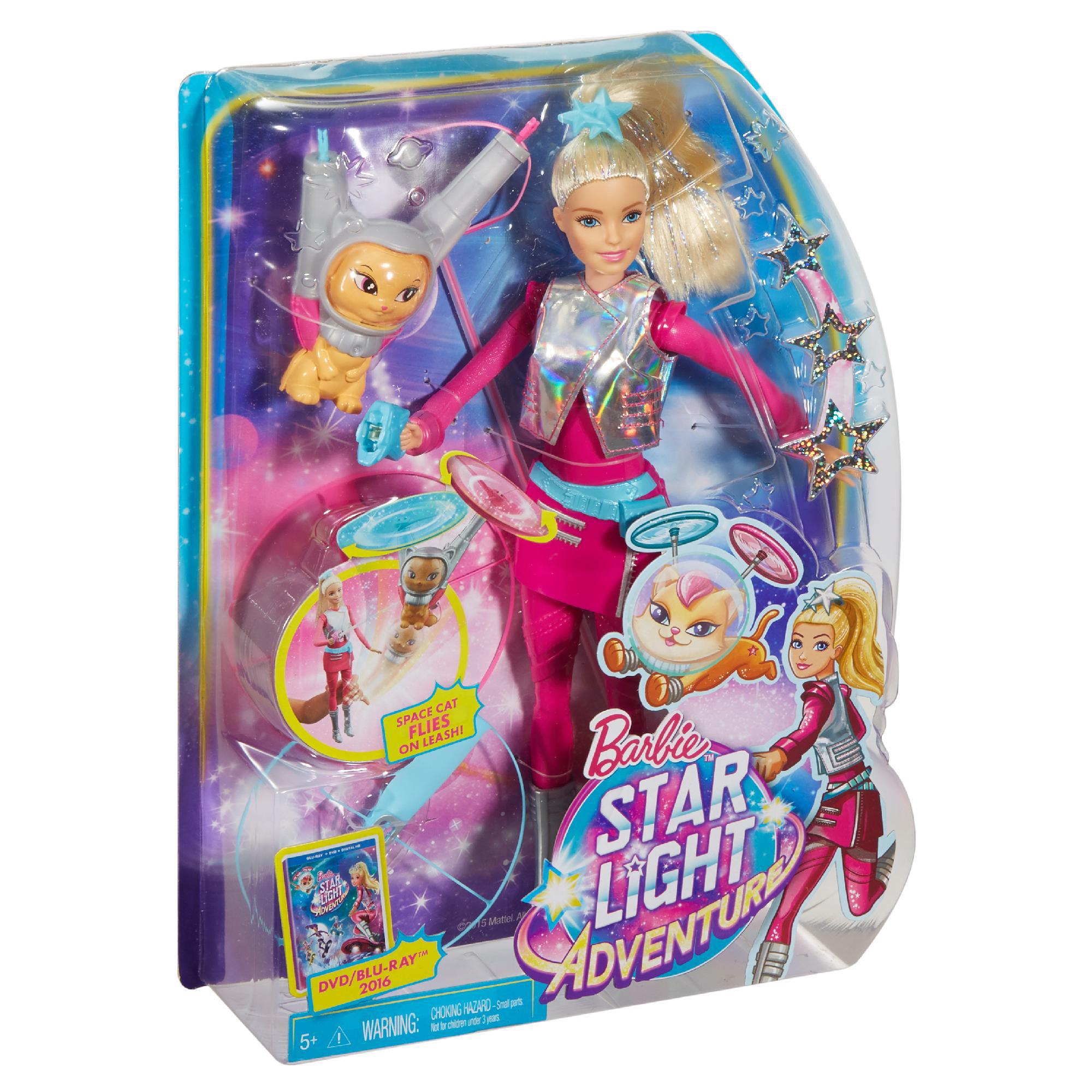 Barbie Star Light Adventure Galaxy Doll and Flying Cat - Walmart.com