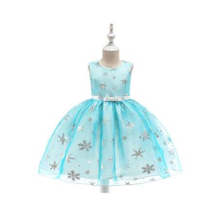Kids Girls Round Neck Sleeveless Ball Gown -
