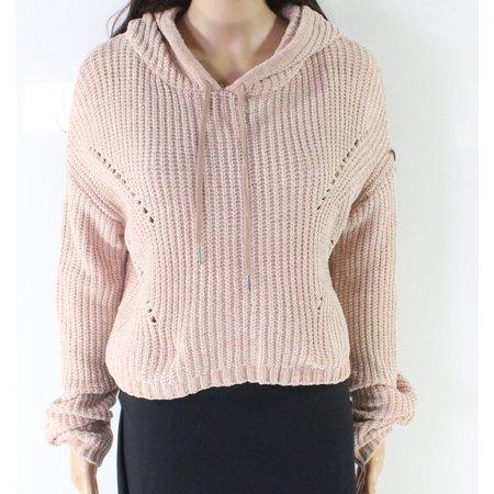 Women's Hooded Crochet Pullover Sweater XL