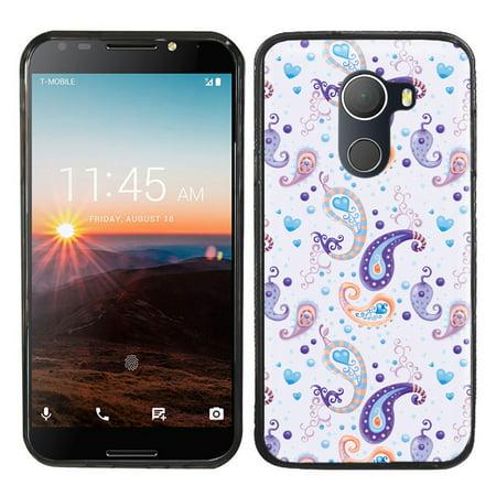 - Slim-Fit Case for Alcatel Revvl / A30 Fierce, OneToughShield ® Premium TPU Gel Protector Phone Case (Black Bezel) - Paisley Purple