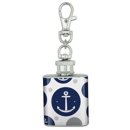 Anchor Sailing Sailor Navy Nautical Stainless Steel 1oz Mini Flask Key Chain