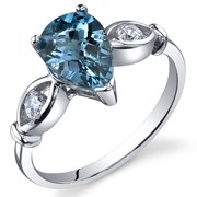 1.50 Ct London Blue Topaz Engagement Ring in Rhodium-Plated Sterling Silver