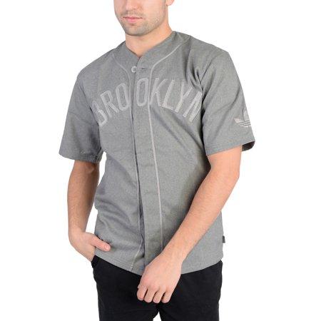 Adidas Mens NBA Brooklyn Jersey Dark Grey Adidas Contrast Collar Jersey