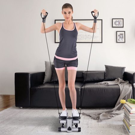 Zimtown Air Climber Aerobic Mini Stair Stepper Fitness Step, Twister Exercise Machine, with Resistance Bands, for Home (Life Fitness Stair Stepper)