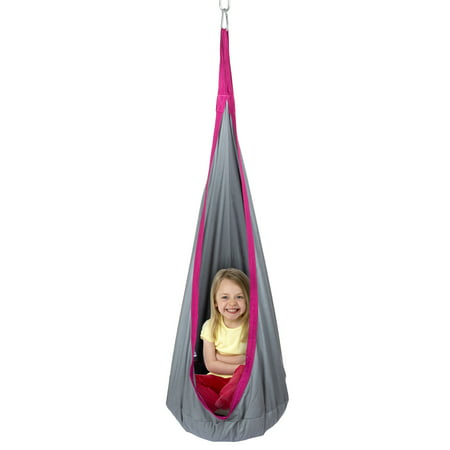 Hanging Swing Seat for Children -Sturdy Padded Cocoon Chair Kids Hammock Pod by Hey! Play! (Hammock Pod Chair)