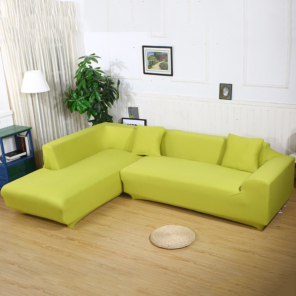 All Cover Sectional Sofa L Shape Slipcover Elastic Washable Couch