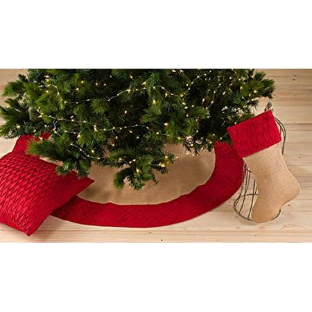 Kamala Pleated Diamond Cotton Trim Burlap Holiday Festive Tree Skirt