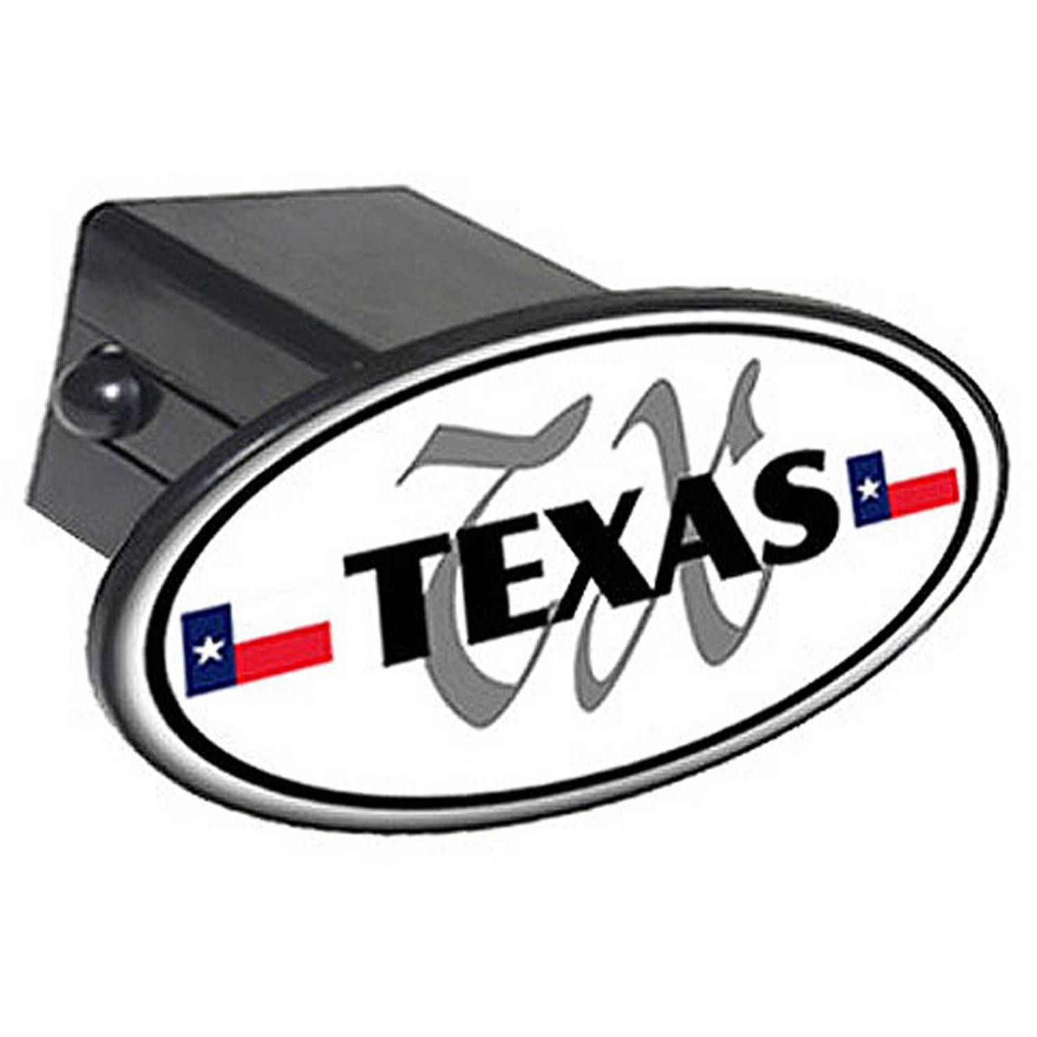 "Texas Euro Oval Flag 2"" Oval Tow Trailer Hitch Cover Plug Insert"
