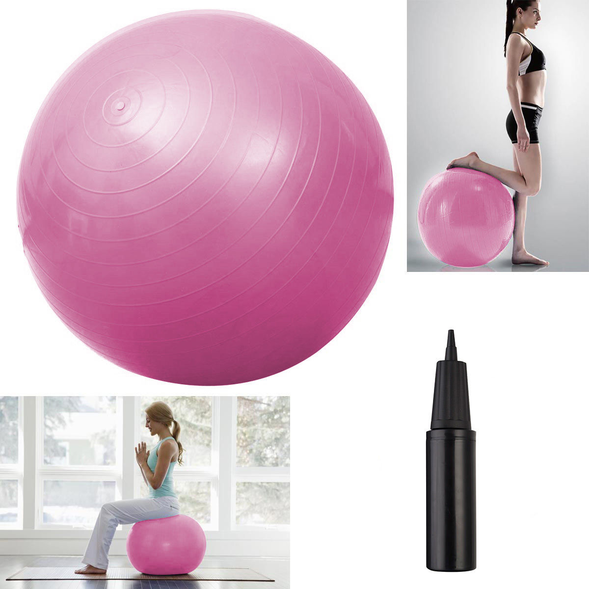 "Costway Blue Yoga Ball 25"" 65cm Exercise Gymnastic Fitness Pilates Balance W/air Pump (Pink)"