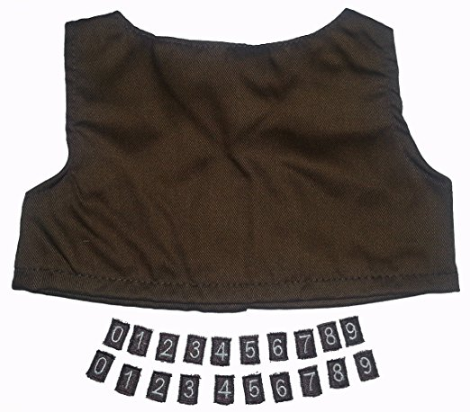 """Brownie Vest with Iron on Numbers Teddy Bear Clothes Outfit Fits Most 14"""" 18""""... by The Bear Factory"""