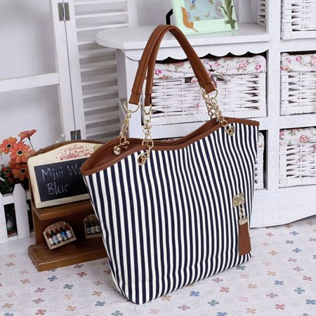 HC-TOP Womens Canvas plaid Handbags Girls Tote Satchel Beach Shoulder shopping Bags - image 2 de 6