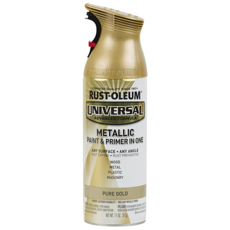 Rust-Oleum Universal All Surface Metallic Pure Gold Spray Paint and Primer in 1, 11 oz (Uv Reactive Spray Paint)