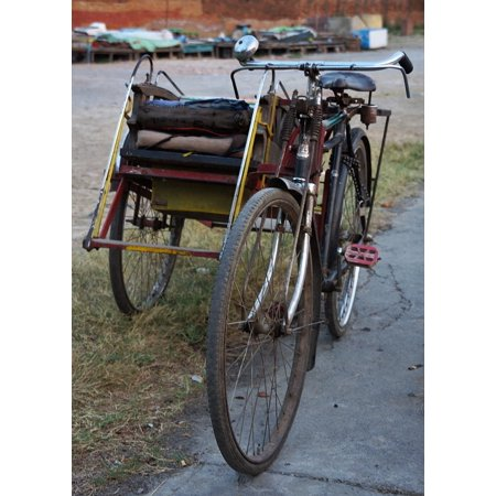 Person Myanmar Mandalay Taxi Two Bicycle Poster Print 24 x 36
