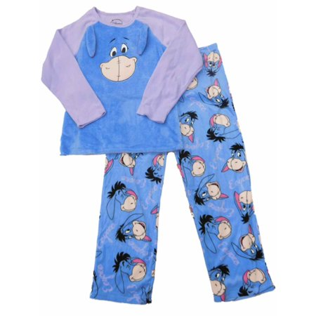 9667e9e21c Disney - Womens Disney Eeyore Minky Fleece Blue Pajamas Character Sleep Set  - Walmart.com